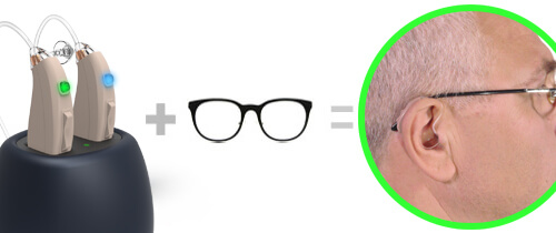 Hearing aids with glasses